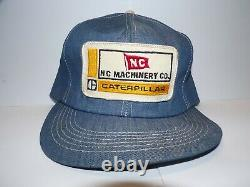 Vintage 70s 80s K Brand Caterpillar Patch Denim Snapback Trucker Hat Cap Etats-unis