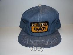 Vintage 70s 80s K-products Halton Cat Patch Denim Snapback Trucker Hat Cap Etats-unis