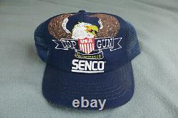 Vintage 70s 80s Senco Top Gun Eagle Mesh Snapback Trucker Hat Cap Made In USA
