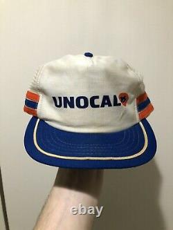 Vintage 70s 80s Unocal 76 3 Stripe Mesh Snapback Trucker Hat Cap Made In USA