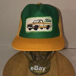 Vintage 80s Ford Trucker Vert Or Jaune Camion Chapeau Snapback Patch USA Fabriqué
