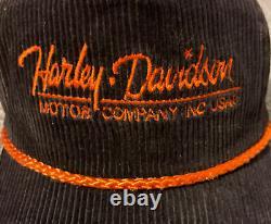 Vintage 80s Harley Davidson Motorcycle Corduroy Ajustable Bike Trucker Hat Casquette