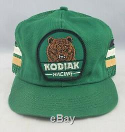 Vintage 80s Kodiak Green Racing 3 Stripe Snapback Chapeau De Camionneur De Maille Kproducts