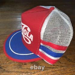 Vintage Années 70 80 Pepsi-cola 3 Three Stripe Trucker Hat Cap Mesh Made In USA Rare