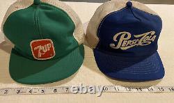 Vintage Années 70 80 Snapback Trucker Hat Cap Pepsi-cola! Et 7up! Utilisé