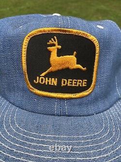 Vintage Années 80 90 John Deere Denim Trucker Hat Cap Made In Usa- Farm Patch- Nos