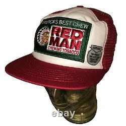 Vintage Années 80 Red Man Chewing Tobacco Trucker Hat Cap Snapback Patch USA Rouge Blanc