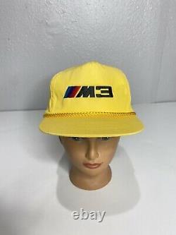 Vintage Bmw M3 Jaune Noir Brodé Snapback Chapeau Camionneur Chapeau 90s