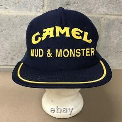 Vintage Camel Mud & Monster Pit Chapeau D'équipage Mesh Snapback Trucker Cap Fabriqué Aux États-unis