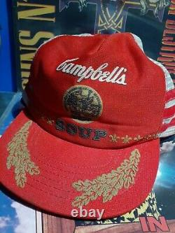 Vintage Campbell's Soup Snapback Trucker Hat Three Stripe Mesh Patch Cap États-unis