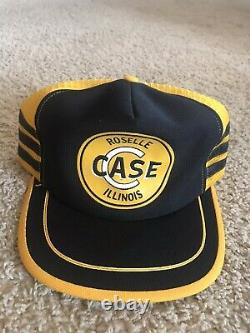 Vintage Case Tractor Snapback Trucker Hat Cap 3 Stripe Made In USA Ferme