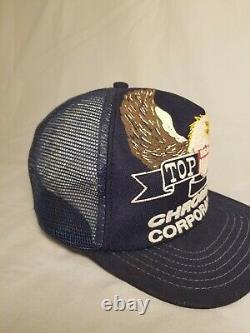 Vintage Chromium Senco Top Gun Eagle Mesh Snapback Chapeau De Camionneur Cap Fabriqué Aux États-unis