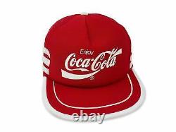 Vintage Coca Cola Chapeau Snapback Cap 80s Camionneur 3 Bandes Coca Enjoy Rare B3