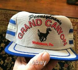 Vintage Grand Canyon Deer 3 Stripe Mesh Trucker Hat Snapback Hat Cap Etats-unis Made