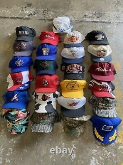 Vintage Hat Lot (25) Trucker Hat 90s Snaback Cap