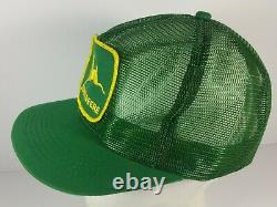Vintage John Deere Big Patch Snapback Trucker Hat Cap K-products Made USA Mesh