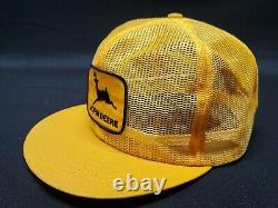 Vintage John Deere Plein Mesh Louisville Mfg Snapback Trucker Hat Cap Patchusa 2