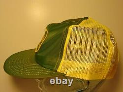 Vintage John Deere Snapback Trucker Hat Cap Louisville Green Yellow Made In USA