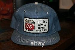 Vintage K-brand Phillips 66 Denim Snapback À Gaz Camionneurs Chapeau De Ferme