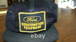 Vintage K-marque Ford Construction Black Full Mesh Snapback Patch Cap / Hat Trucker