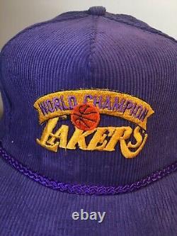 Vintage La Lakers Trucker Hat Cap Championnat De Velours Côtelé Snapback Années 1980 Nba