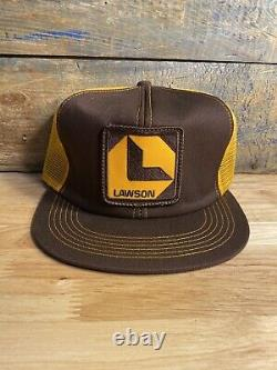 Vintage Lawson Patch Snapback Trucker Hat Mesh Cap K-produits Made In USA Farm