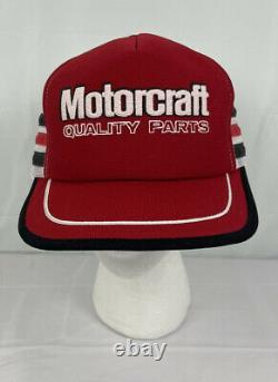 Vintage Motorcraft 3-stripe Trucker Snapback Mesh Hat Cap Puffy Fabriqué Aux États-unis Euc