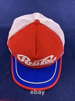 Vintage Pepsi Cola 3 Stripe Snapback Chapeau De Camionneur Casquette Rouge Blanc Bleu