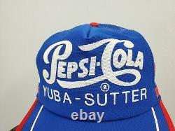 Vintage Pepsi Cola 3 Stripe Snapback Trucker Hat Cap USA Yuba Sutter (k)