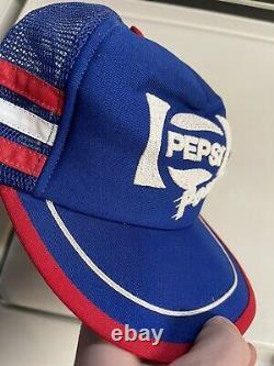 Vintage Pepsi Cola Power 3 Stripe Snapback Trucker Hat Cap Red White Blue Rare