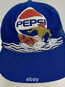 Vintage Pepsi Cola Surfeur Surfeur Themed Trucker Chapeau Snapback Mesh 80s 90s