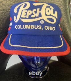 Vintage Pepsi-cola 3 Stripe Snapback Trucker Hat Cap Red White Blue Columbus