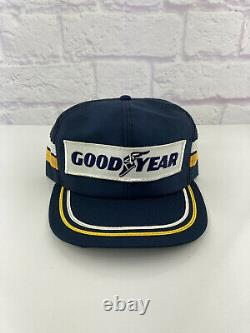 Vintage Rare Hipster Trucker Hat Casquette De Baseball Goodyear Patch 2 Stripe Snapback