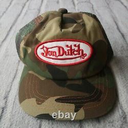 Vintage Rare Von Hollandais Logo Camo Trucker Snapback Hat Cap Camouflage 4