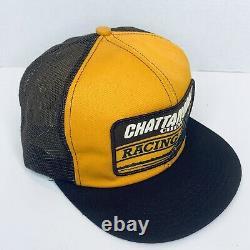 Vintage Snapback Chattanooga Chew Racing Trucker Hat Cap États-unis Fait Big Patch 80s