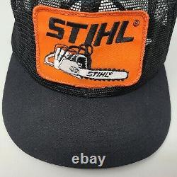 Vintage Stihl Trucker Hat K Produits Black Orange Mesh Snap Cap Arrière Fabriqué Aux États-unis