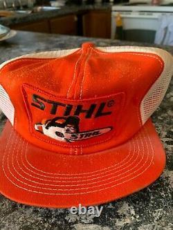Vintage Stlhl Chainsaw Orange Mesh Snapback Trucker Cap Hat Patch K-brand USA