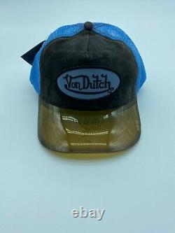 Von Dutch Originals Vintage Rare Logo Clear Mesh Trucker Snapback Hat Clear Cap
