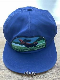 Vtg 1980s Yellowstone Big Patch USA K Marque Produits Snapback Trucker Hat Cap