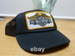 Vtg 1982 Harley Davidson Moto Mesh Snapback Trucker Cap Hat 80s Patch LID