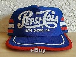 Vtg 3d Puff Pepsi Cola Snapback Americas La Plus Belle Ville De San Diego De Camionneur