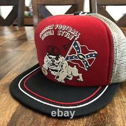 Vtg 80s Georgia Bulldogs Trucker Snapback Hat Cap Old Stock Non Utilisé Rare