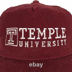 Vtg 80s Temple University Chapeau Spell Out Script Corduroy USA Snapback Trucker Cap