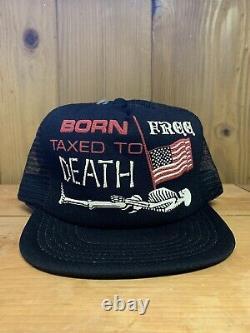 Vtg Born Free Taxed To Death Mesh Trucker Hat Snapback USA Drapeau 3d Imprimer Cap