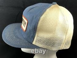 Vtg Champion Motor Graders Mesh Trucker Hat Snapback Patch Denim Cap K Marque USA