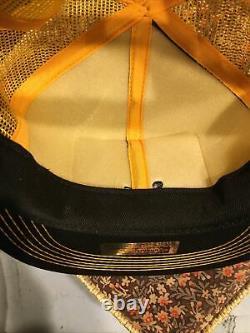 Vtg Christensen Mesh Snapback Trucker Hat Cap K Brand Patch Gold Black Canada