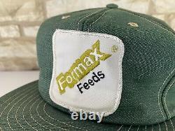 Vtg Formax Feeds Green Patch Denim Hat Snapback Trucker États-unis Mfg Louisville