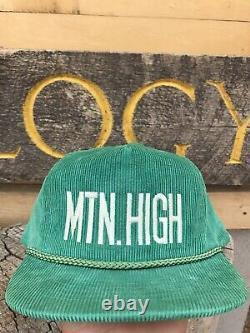 Vtg Green Corduroy Snapback Rope Hat Mt. Haut Colorado Camionneur Couvercle Cap Rare Nice