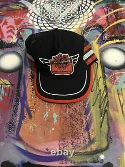 Vtg Harley Davidson Snapback Truckback Hat Cap 3 Trois Stripes USA York, Pa Musée
