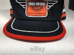 Vtg Harley Davidson Snapback Trucker Chapeau 3 Trois Stripes USA York, Pennsylvanie Museum